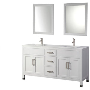 "MTD Vanities Ricca 84"" Double Sink Bathroom Vanity Set, White"
