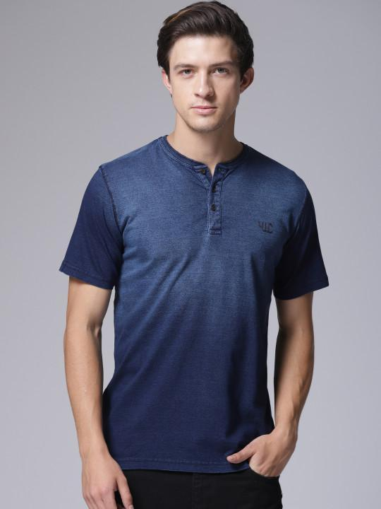 YWC Blue Solid Henley T-Shirt