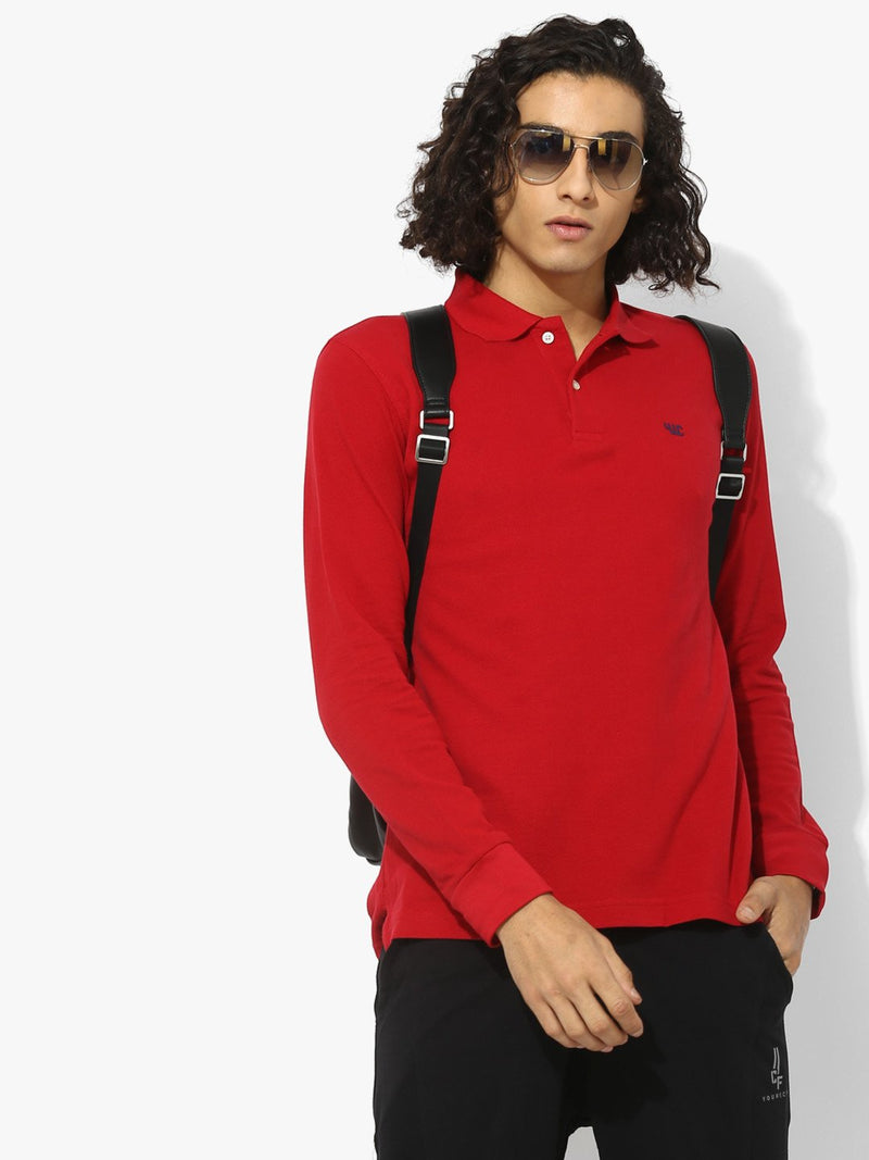 YWC Solid Full Sleeve Polo T-Shirt