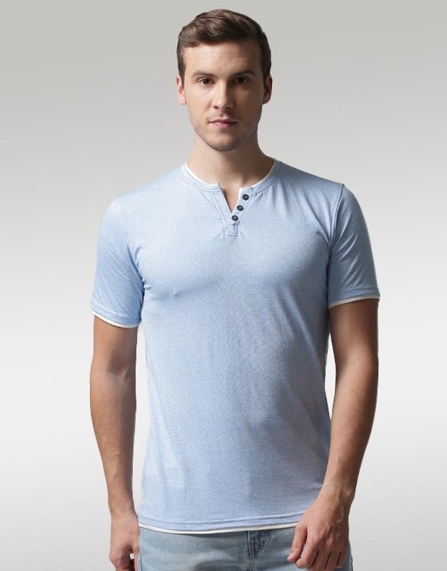 YWC Blue Solid Layered Henley T-Shirt