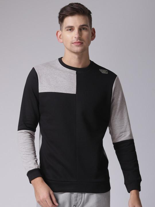 YWC Black & Grey Colourblocked Sweatshirt