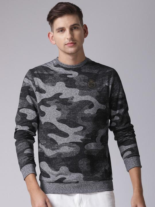 YWC Black & Grey Self Design Sweatshirt