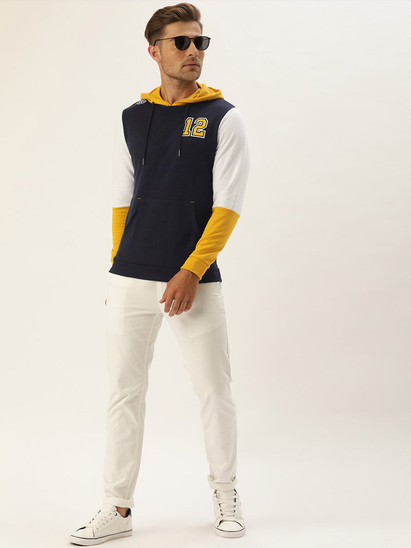 YWC Solid Hooded Varsity Sweatshirt