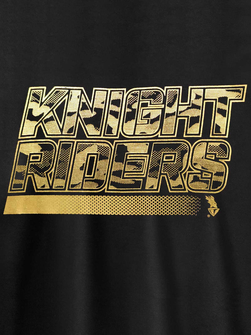 "KKR ""Knight Riders"" Gold Foil Printed T-Shirt"