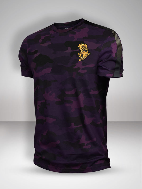 KKR Camo T-Shirt with Faux Leather Detailing