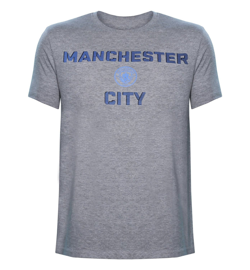 MCFC Grey Melange Printed Round Neck T-Shirt
