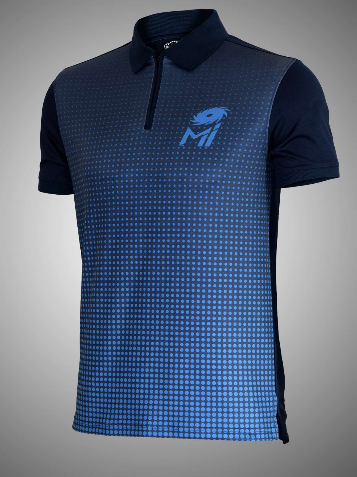 Mumbai Indians Official Dry Fit Polo with Half Zipper