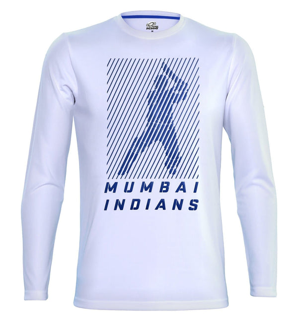 Mumbai Indians White Printed Full Sleeve T-Shirt