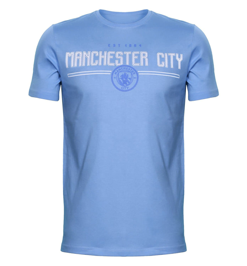 MCFC Blue Printed Round Neck T-Shirt