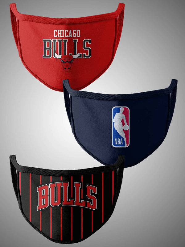 Chicago Bulls Pack of 3 Face Covering
