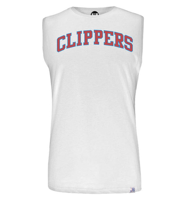 NBA La Clippers White Printed Sleeveless T-Shirt