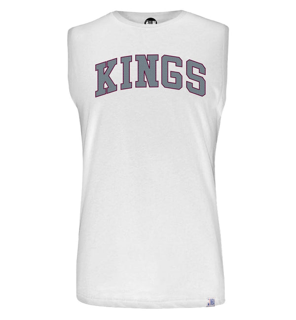 NBA Sacramento Kings White Printed Sleeveless T-Shirt
