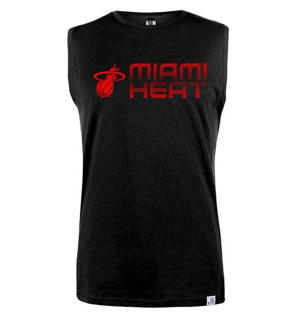 NBA Miami Heat Black Printed Sleeveless T-Shirt
