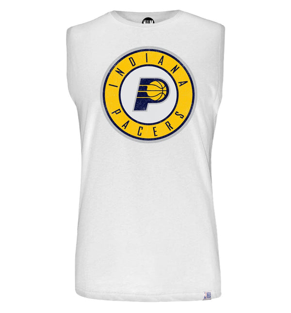 NBA Indiana Pacers White Printed Sleeveless T-Shirt