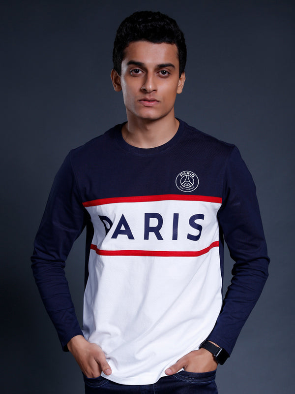 Paris Saint-Germain Colorblocked Full Sleeve T-shirt