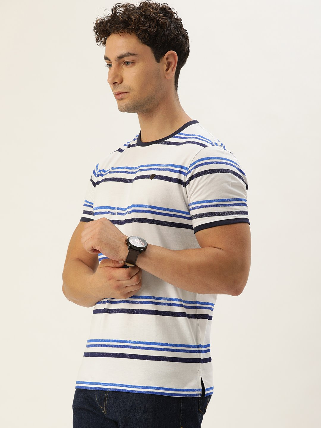 YWC Striped Round Neck T-Shirt