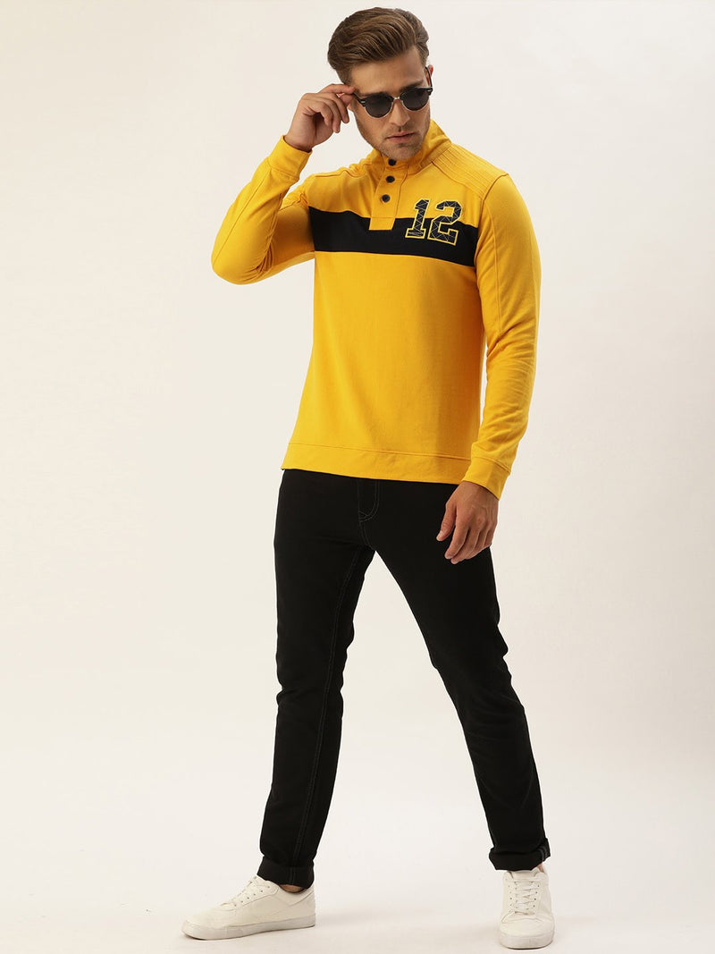 YWC Striped High Neck Sweatshirt