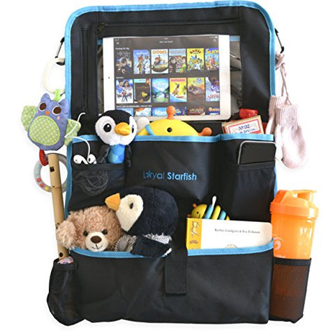 Car Seat Organizer - Smart iPad/Tablet Holder with Headphone Zipper - Large, Durable and Pockets - Stroller Organizer