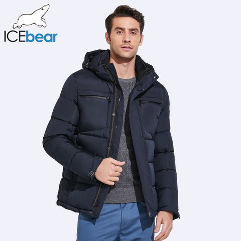 ICEbear 2017 Mens Winter Jackets Exquisite Pocket Simple Hem Waterproof Zipper High Quality Parka 17MD940D