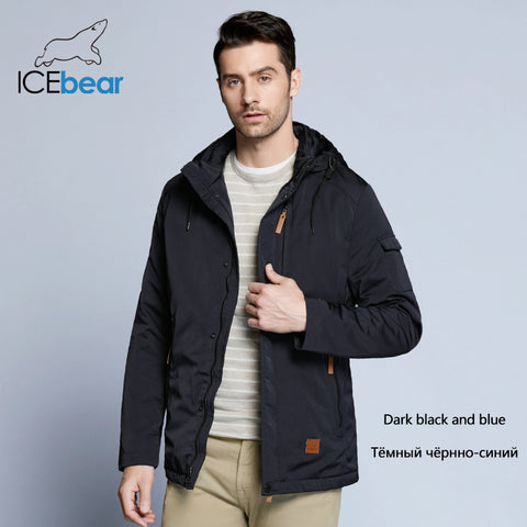 ICEbear New 2018 Pocket Zipper Design Men Jacket Spring Autumn Parka Solid Thin Cotton Coat 17MC010D