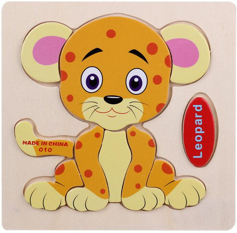 Kids 3D Jigsaw Wooden Puzzle Toys For Children Cartoon Animal Traffic Educational Toys