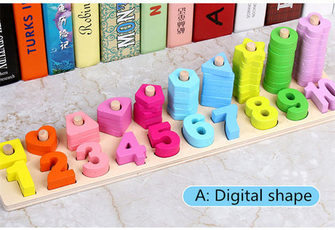 Montessori Math Toys Digital Shape Pairing Learning Preschool Counting Board