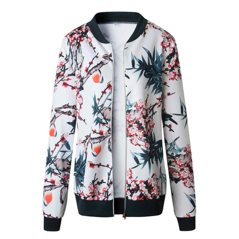 New Ladies Vintage Flower Print Bomber Jacket Autumn Long Sleeve Casual Tops