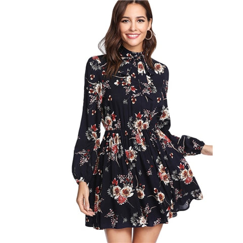 SHEIN Autumn Floral Women Multicolor Elegant Long Sleeve High Waist A Line Chic Tie Neck Dress