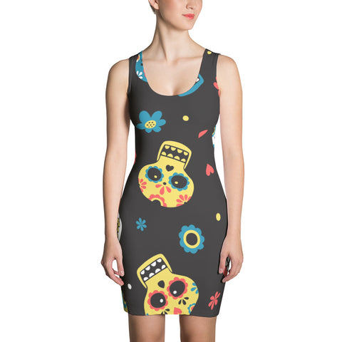 Sugar Skull  Halloween Dress/ Sew Dress