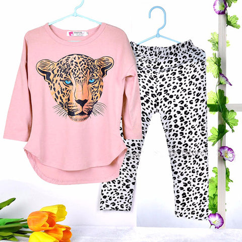 Girls Clothes set T Shirt Leopard Legging