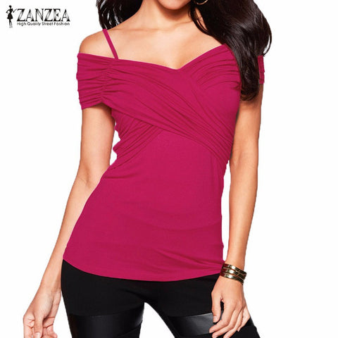 Summer Women Blouses Sexy Slim Fittting V Neck Shirts