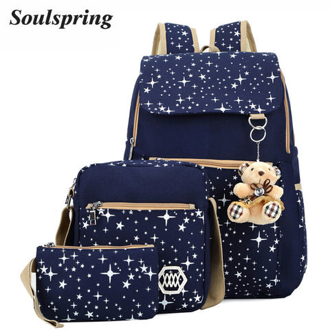 3Pcs/Set Backpacks With Gift Bear Girls Backpack