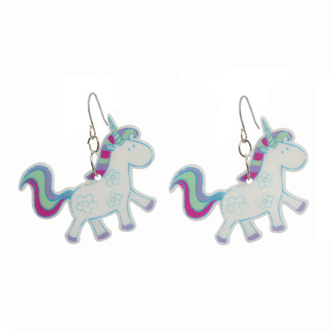 "Trusta 2017 Fashion Girls Kids Gift Jewelry Little Unicorn Earring Pendant 16"" Short Chain Necklace Free Shipping Xma Gift KS192"