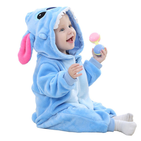 Baby Romper Stitch and Kitty Cat Hoodie Pajama Outfit
