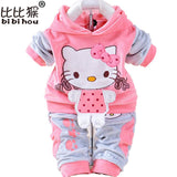 Hello Kitty Children Clothes Set T Shirt Hoodies Pant Twinset Long Sleeve Children Clothing Sets