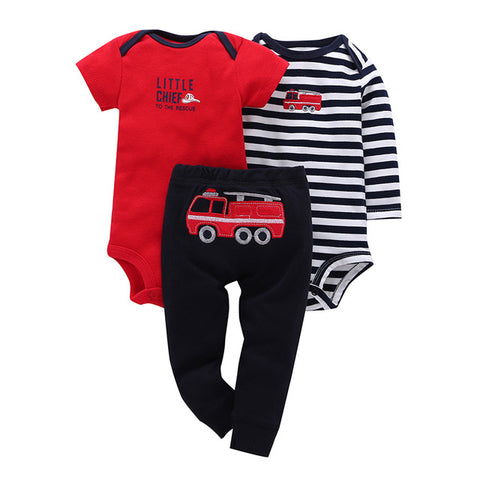 3Pc Baby Clothes Set Red Firetruck