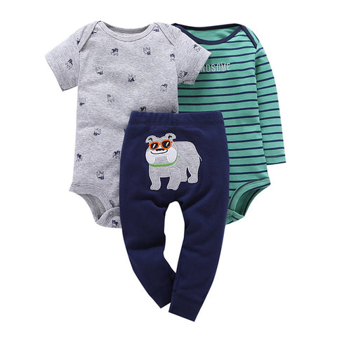3Pc Baby Clothes Set-Bull Dog