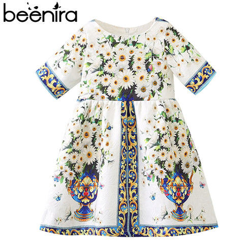 European American Style Short-Sleeve Printed Dress