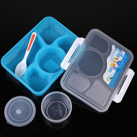 Portable Microwave Picnic Lunch Box 5+1 for Outdoor/Travel w/ Spoon