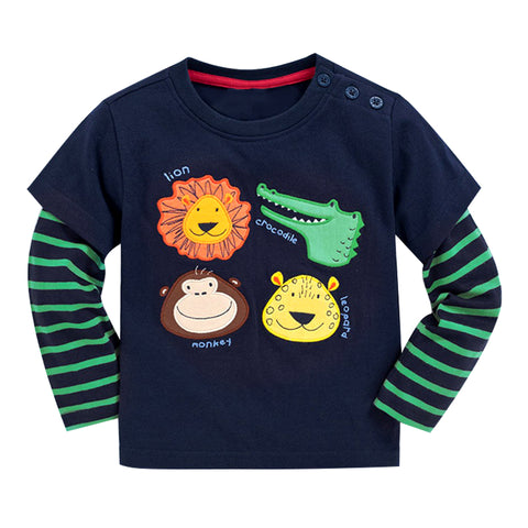 Boys Clothes Shirt 2018 New Style Kids Boys Clothes Tees Children Long-Sleeve Animals Embroidery Pattern Clothing Shirt