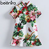 Short Sleeve Printed Kimono Style Girls Dress