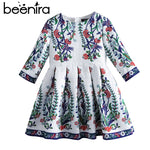 Beenira Children Princess Dress 2018 New Brand European And American Style Kids Half-Sleeve Pattern Girls Autumn Dress For 4-14Y