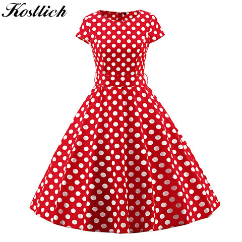 Elegant Polka Dot Women Summer Dress Cap Sleeve Belt Tunic 1950s Vintage Dress