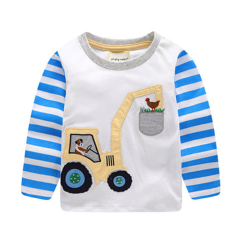 Boys  t-shirts autumn cartoon kids shirts For boys clothes 100% Cotton