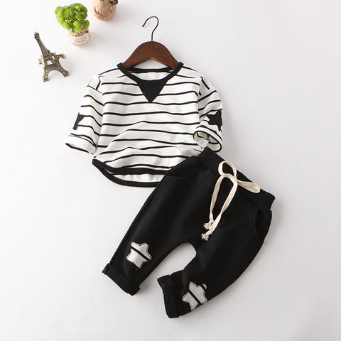 Children Clothes Sets 2017 New Autumn Style Kids Long-Sleeve Striped T-shirt + Solid Color Pants Baby Boys Clothes Suits