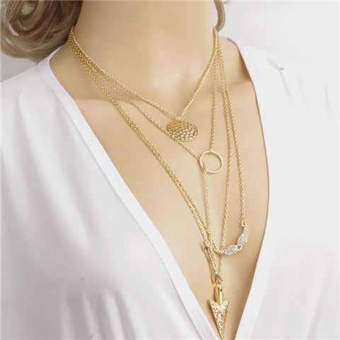Gold Color Multi layer Coin Tassels Lariat Bar Necklaces Beads Choker Feather Pendants Necklaces For Women