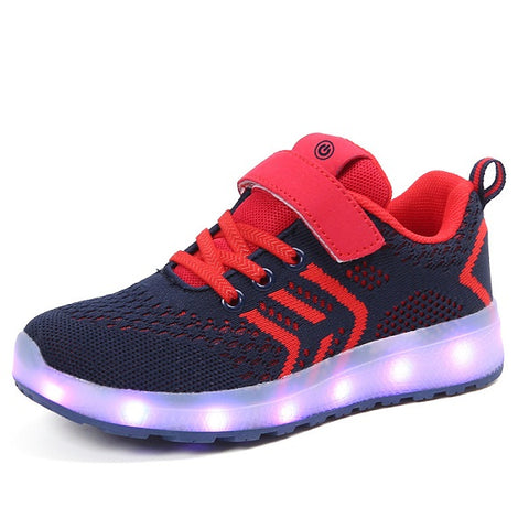 New 26-40 USB Charger Glowing Sneakers Led Children Lighting Shoes Boys Girls illuminated Luminous Sneaker
