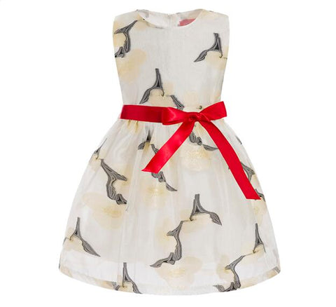 Vintage Style Printed Party Dresses For Little Girls