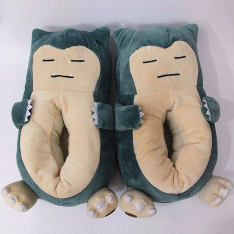 Home Slippers Female Cartoon Pet Elf Beast Shoes Snorlax Women Cute Animal Chausson Adult Funny Fur Pokemon Indoor Cotton Men