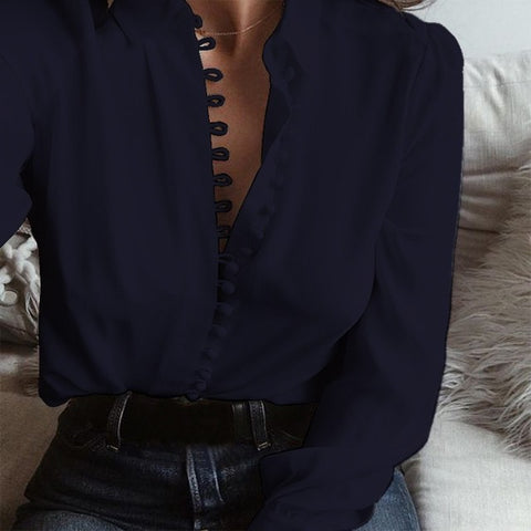Women Lapel Neck Long Sleeve Buttons Down Sexy Solid Blouse